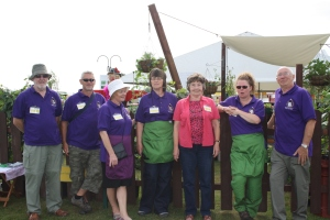 Members of Hyndburn Federation of Allotments on their plot at RHS Tatton Park